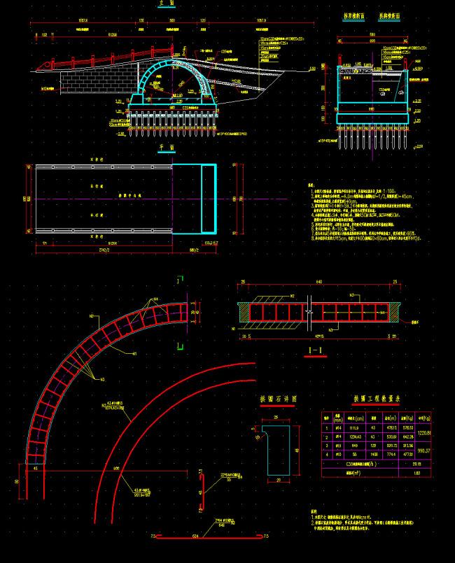 cad图纸 > 拱桥施工图  关键词: 拱桥施工图 单拱桥施工图 小拱桥施工