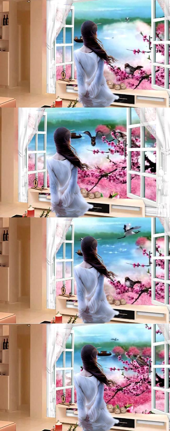 小鸟视频 小船视频 窗外风景 门窗 看风景 小鸟叫声 春天 美女 背影