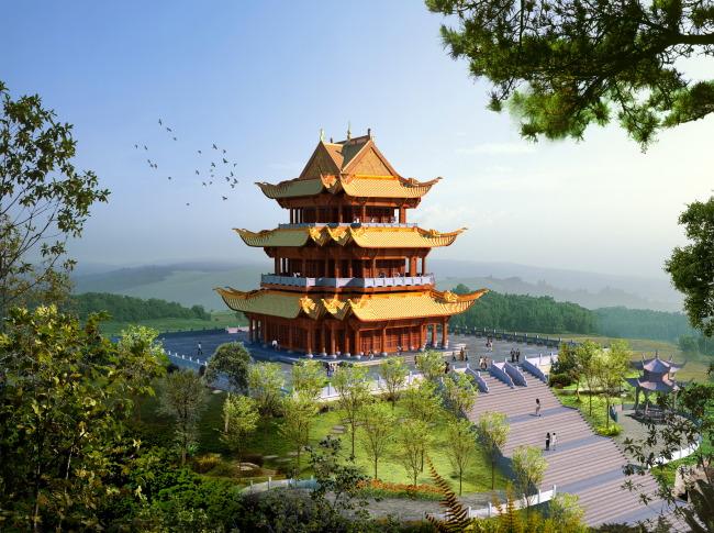 甘肃古建筑塔楼旅游景点