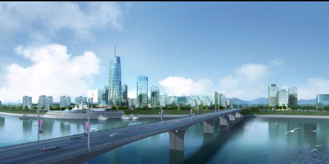 【psd】城市景观桥梁效果图