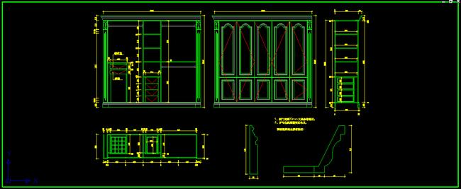 cad详细节点 欧式风格设计 家具图纸 立面图 剖面图 节点图 整木家具