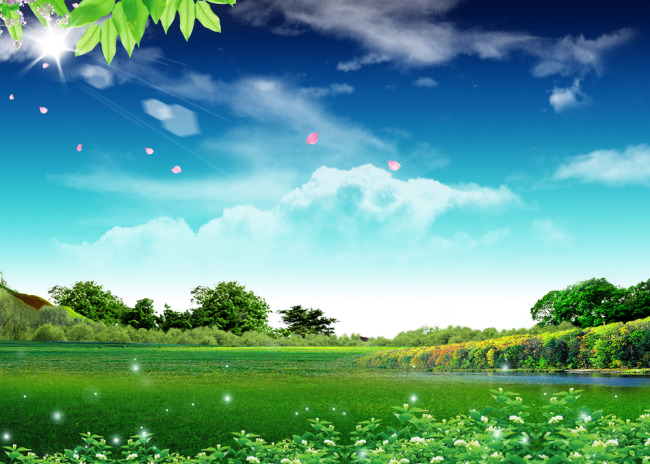 【psd】蓝天白云绿地高清风景展板模板背景图