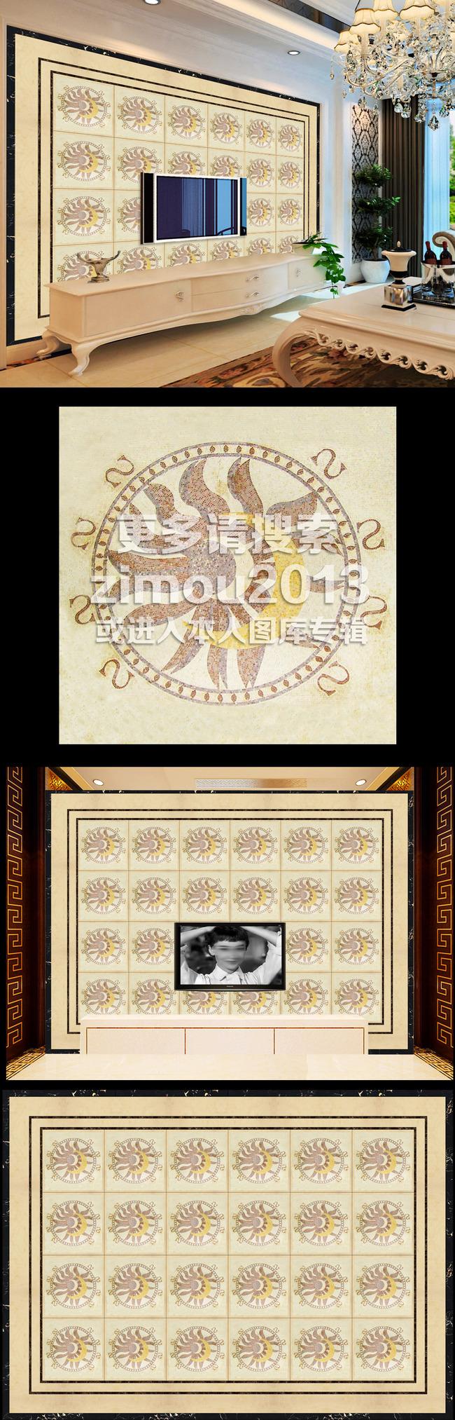 【】高清欧式瓷砖拼花马赛克背景墙装饰画