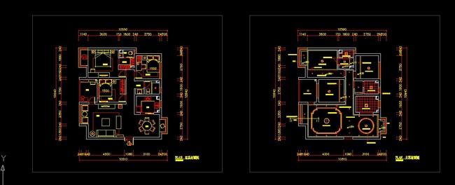 【dwg】三室两厅室内装修cad施工设计图纸