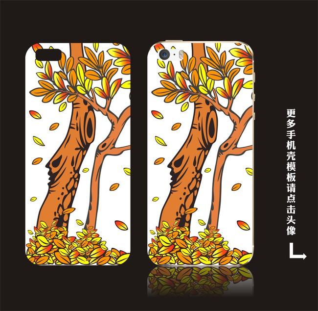 彩绘树手机壳模板设计