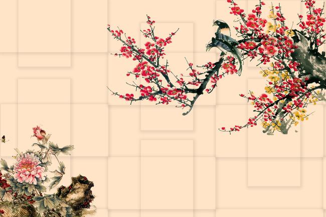 梅花 红梅 喜上眉梢 喜鹊 花鸟 花枝 迎春 红梅迎春 迎春图 牡丹 假山