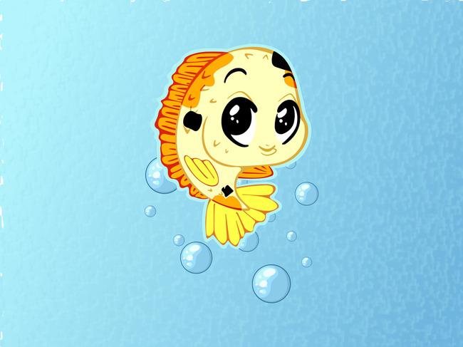 金鱼简笔画 简笔画 可爱的卡通鱼 鱼 红鲤鱼 气泡 水 泡泡 可爱小鲤鱼