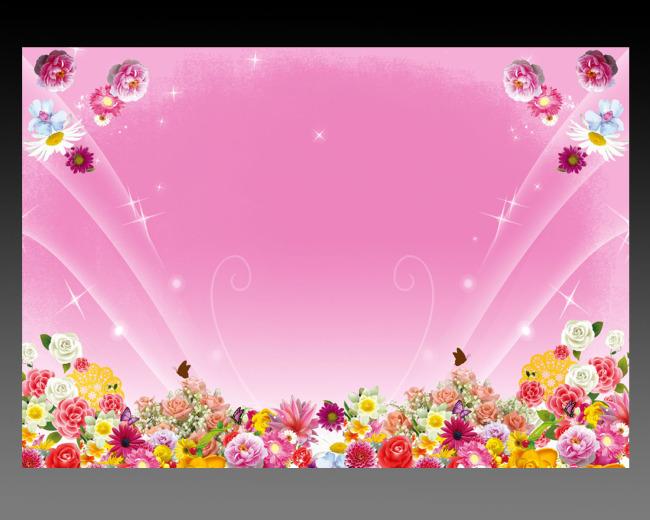 粉色浪漫背景图片 花朵 花丛 花边 漂亮背景 说明:喜庆浪漫节日  展板
