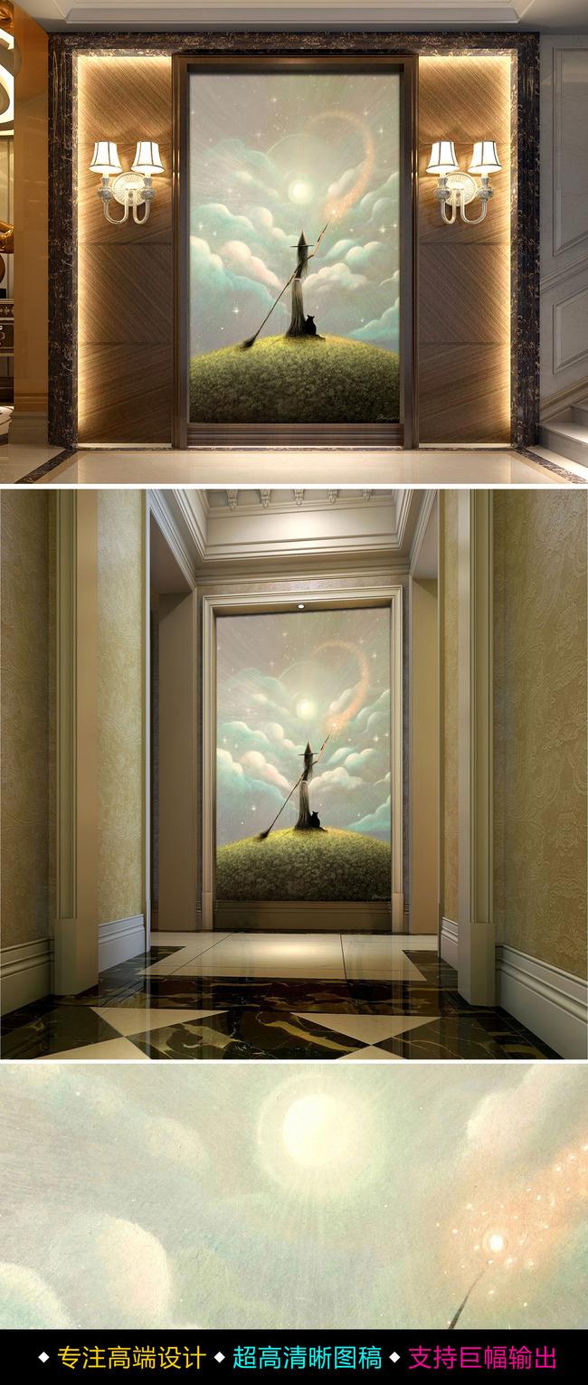 【无】梦幻油画美景画心的女巫油画玄关背景墙