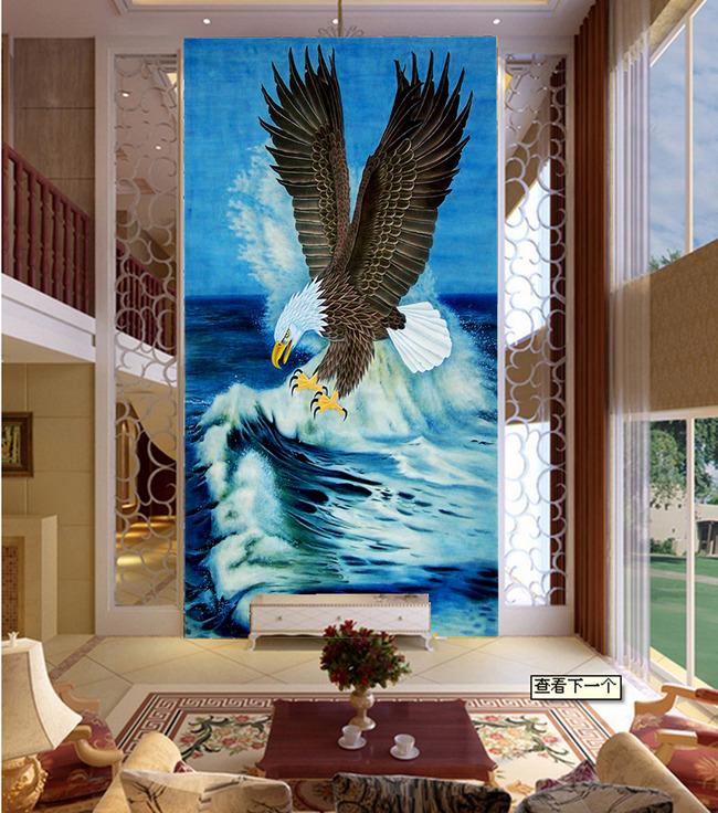 油画玄关壁画老鹰
