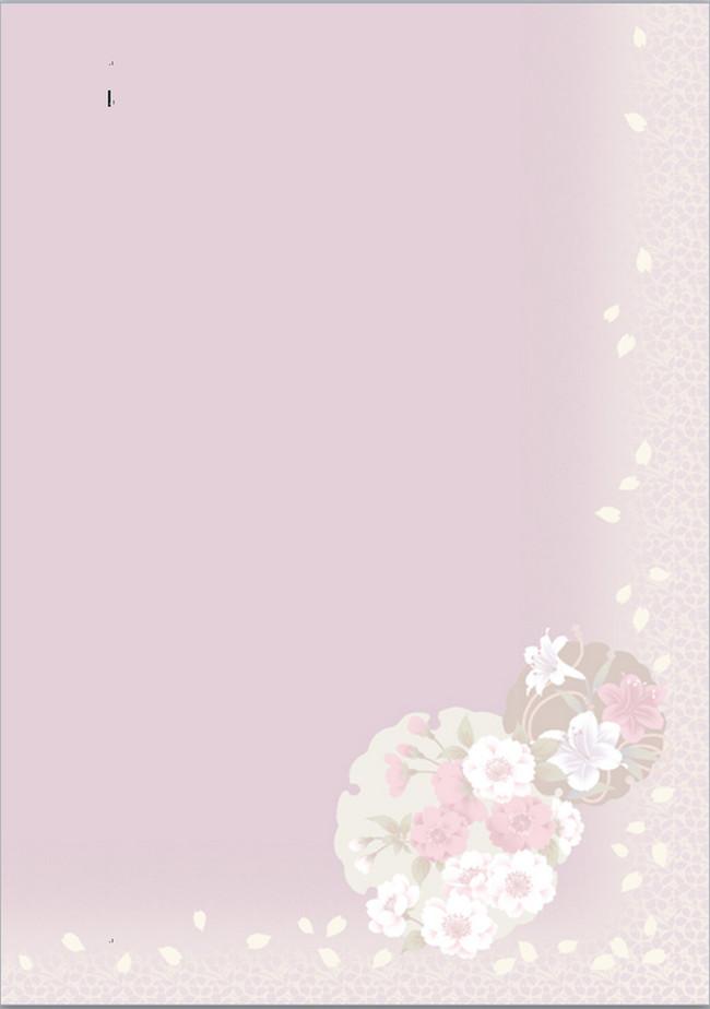 飞舞花朵 百合花 可爱卡通信纸模板 信纸doc 信纸word2007 a4信纸背景图片