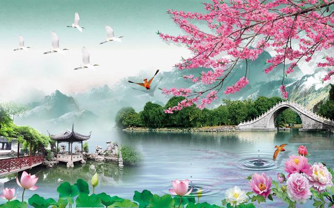 山水風景 荷花 梅花 桃花 牡丹 橋 天鵝 小鳥 亭子 風景畫 倒影 水紋