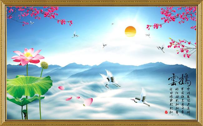 山水画 山水国画 人间美景 风景如画 仙鹤 富贵吉祥 白鹭 说明:水墨画