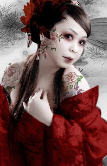 华丽古装美女  关键词: 美女 古装美女 古装 红色 纹身 华丽 红色衣服