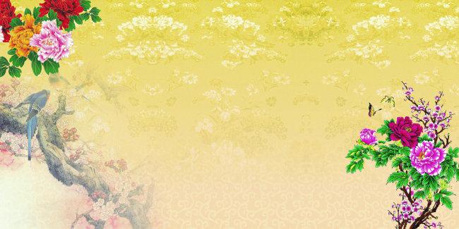 > 鸟语花香海报背景  海报模板 海报底图 海报ps素材 海报设计素材
