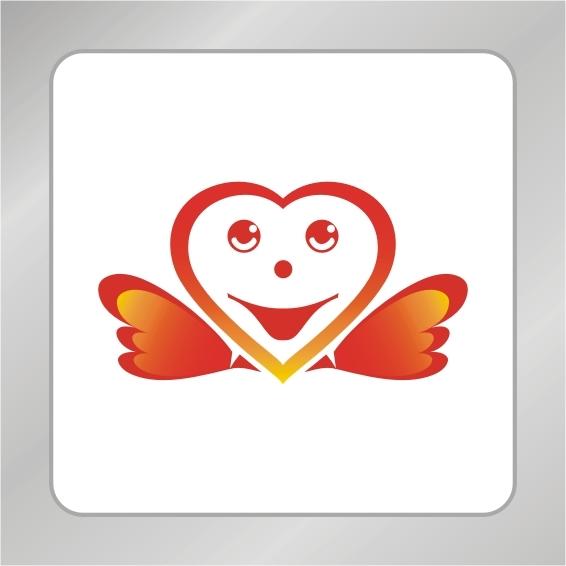 【cdr】爱心翅膀logo设计