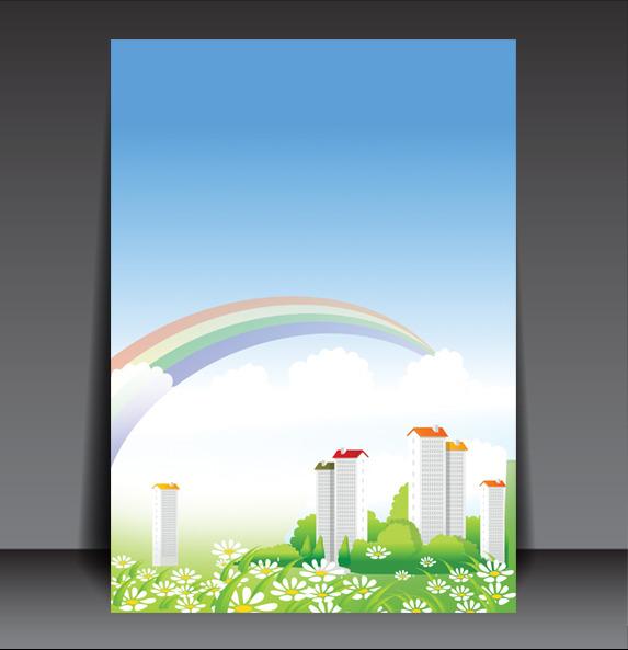 【psd】卡通房产物业海报展板背景图