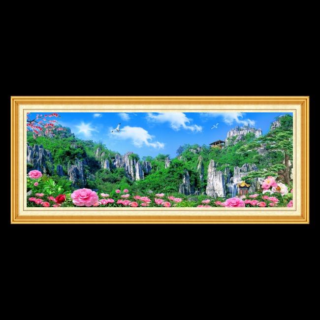 假山流水 梅花 云朵 松树 花朵 鸽子 亭子 画框 说明:兴文石海风景画