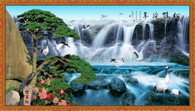 【psd】山水风景画/松鹤延年