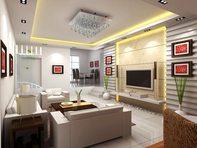 【max】客厅装潢设计_图片编号:wli1090754_室内模型