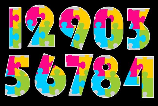 艺术数字_【psd】彩色拼图数字_图片编号:wli1057048_艺术字