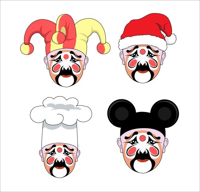 > 时尚创意脸谱插画  关键词: 时尚创意小丑插画 t恤插画 小丑脸谱