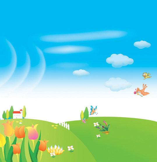 白云 蜜蜂 卡通 叶子 花朵 粉红色 绿叶 草坪 小屋 小树 蝴蝶 小鸟