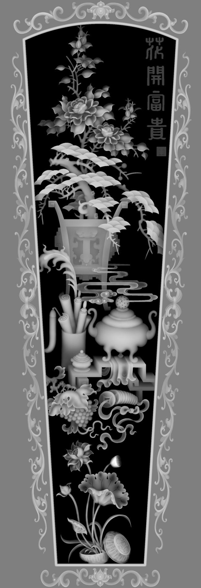 雕刻图案 > 精雕棺材花开富贵盖jdp灰度图