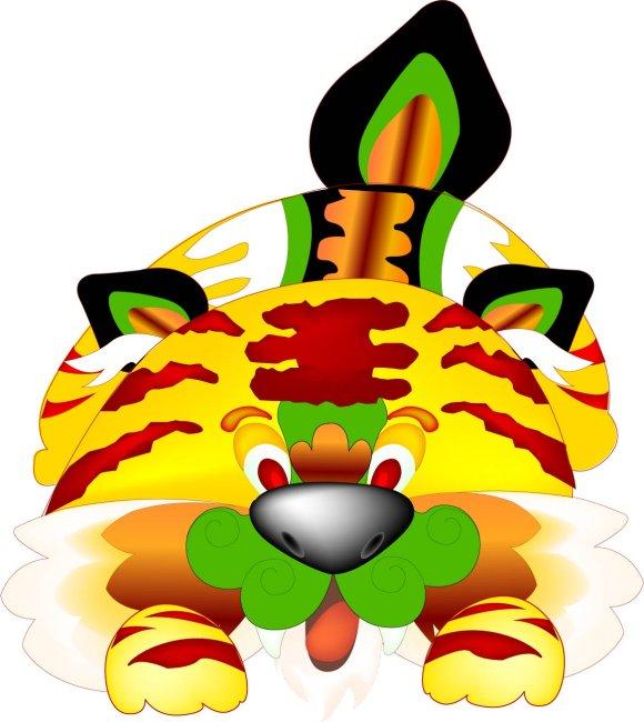 动物插画 > 可爱布虎  关键词: 中国风 布虎 花布 小老虎 插画 可爱