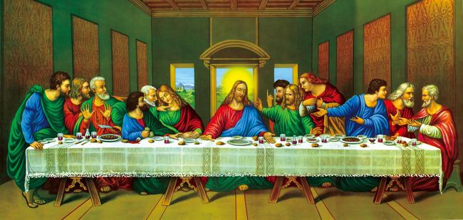 【jpg】高清油画达芬奇最后的晚餐油画