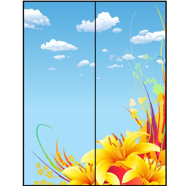【ai】金百合花玻璃移门矢量图片模板下载