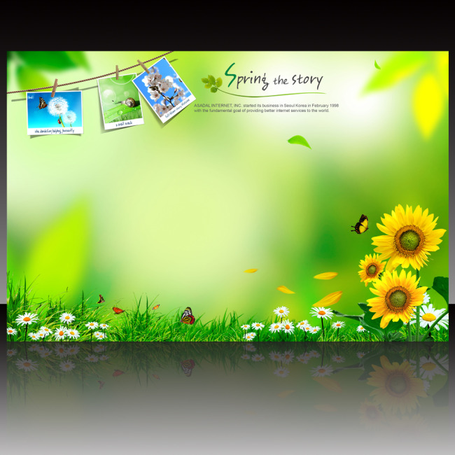 【psd】春天晾衣绳照片展板背景图片psd模板