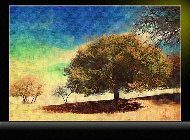 【tif分层】油画a 风景油画 大树油画
