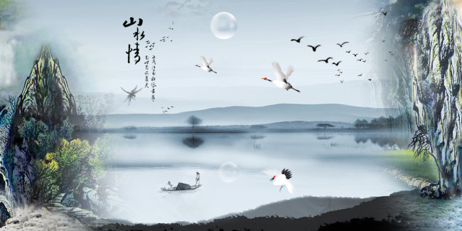 山水风景画 > 山水画模板  关键词: 山水画模板 山水画 水墨画 鸟 水