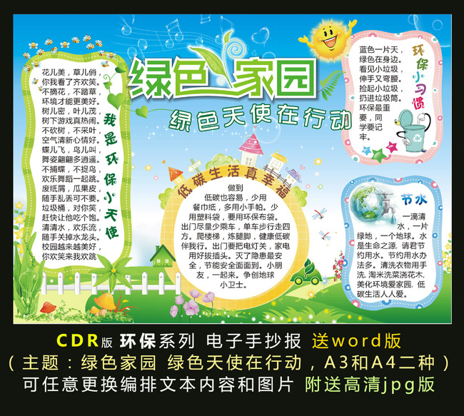 【cdr】环保教育学生电子小报手抄报模板-绿色家园图片