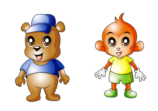 【psd】小熊与小猴卡通形象psd分层源文件下载