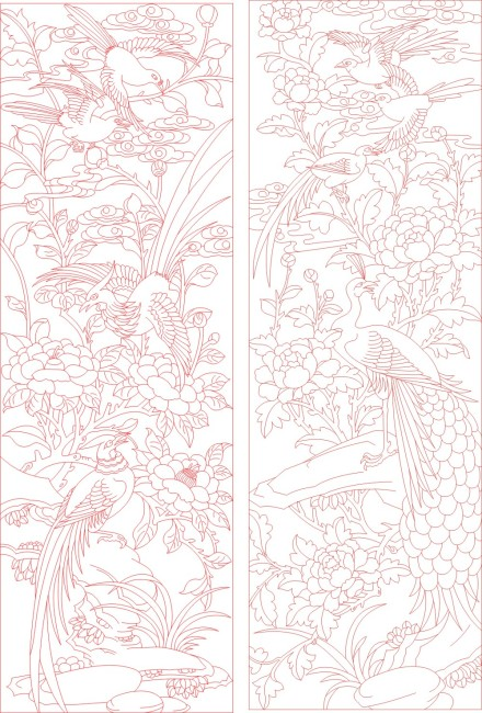 百鸟朝凤矢量图 cdr 仿古图案 竖屏 水量花卉 矢量花鸟 说明:牡丹凤