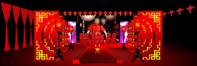 婚礼舞台效果图 中式婚礼 大红灯笼 红绸带 红帷幔 马鞍 火盆 红地毯