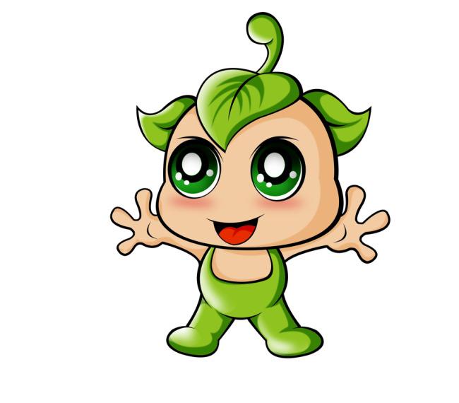 关键词: 绿色娃娃 卡通绿娃娃 果果宝宝 儿童卡通形象设计 说明:绿