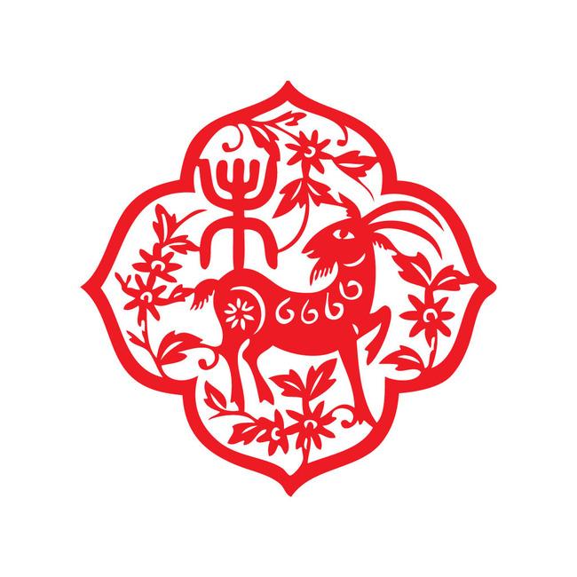 【ai】十二生肖之羊年民间艺术剪纸羊