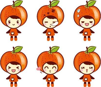 > 卡通 桔子  关键词: 橘子 桔子 卡通 吉祥物 插画 手绘 彩色 矢量