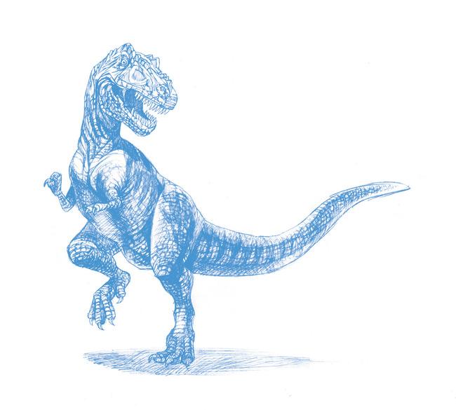 【psd】霸王龙恐龙侏罗纪手绘素描插图插画儿插线稿