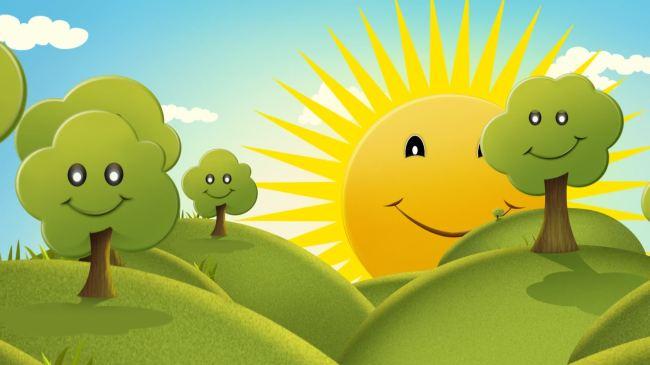 关键词: 高清 视频 动态 素材 背景 太阳 公公 大树 草地 六一国际