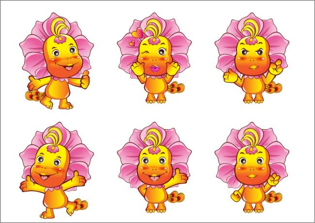 插画|素材|元素 卡通形象 > 龙 凤凰 树花 植物 动物 可爱卡通 吉祥物
