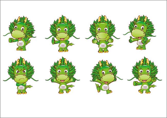 卡通矢量图 ai eps 吉祥物下载 说明:龙 凤凰 树 花 植物 动物 可爱