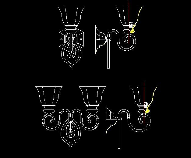 【dwg】欧式壁灯1头与2头cad设计图纸