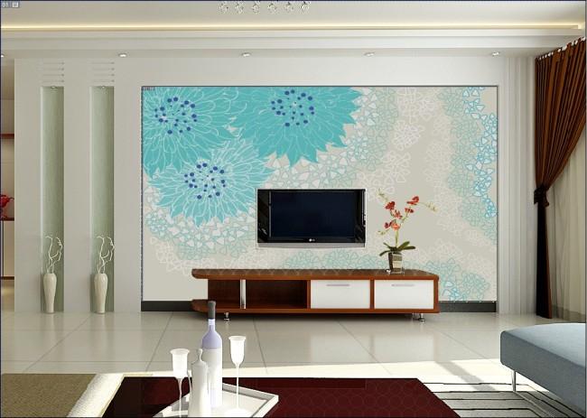 电视墙 背景墙 电视背景墙 大厅 壁画 客厅装饰图片 韩式花纹 花朵