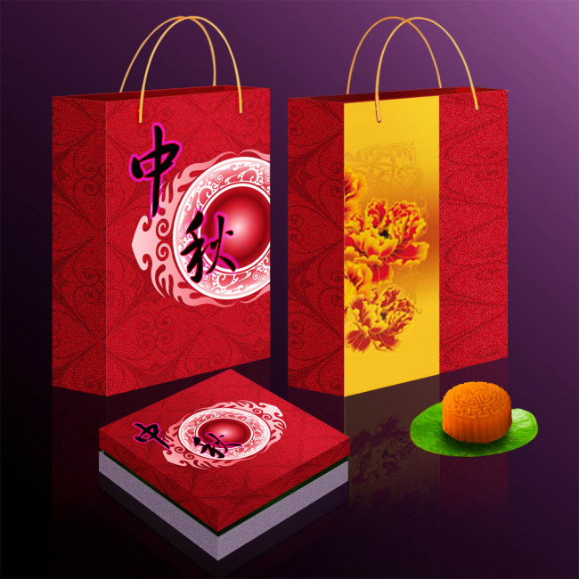 【psd】中秋月饼包装设计手提袋设计psd下载