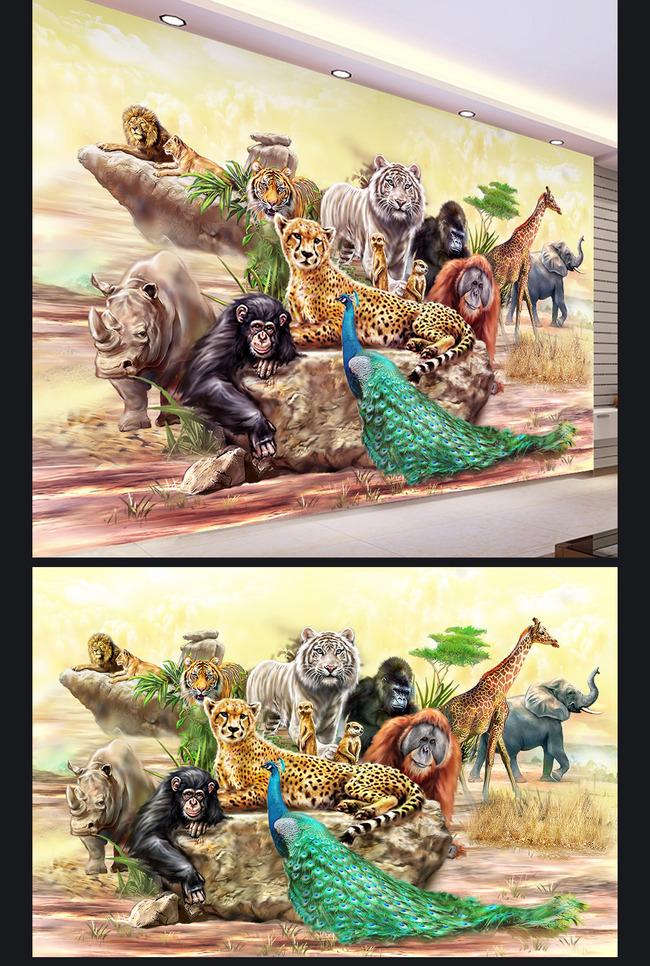 【psd】动物园动物世界手绘装饰画背景墙