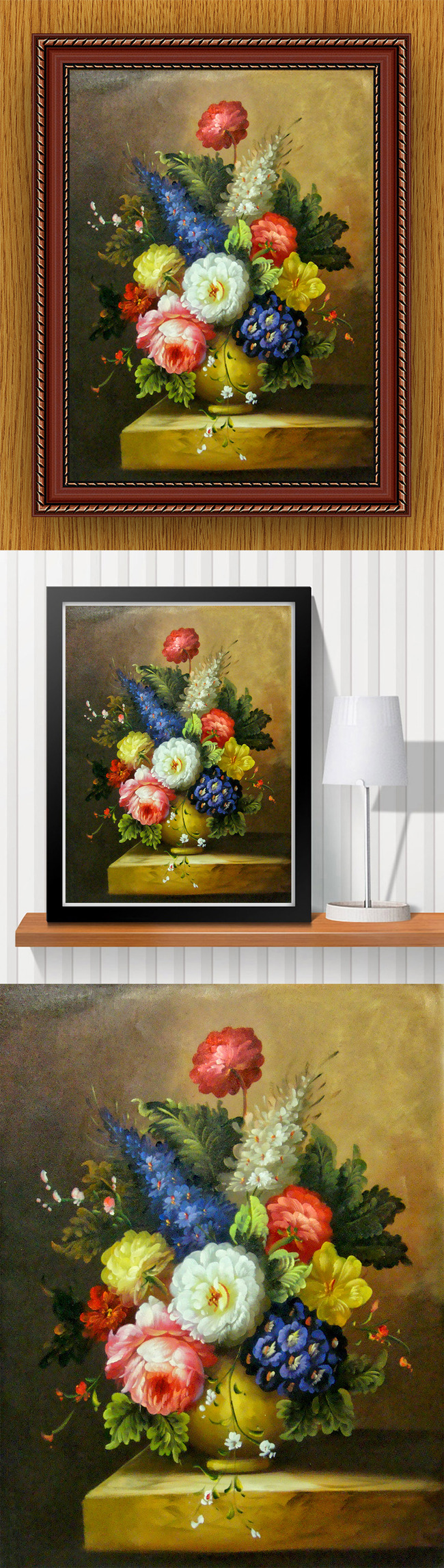 【无】高清手绘欧式古典写实风格花朵花瓶油画